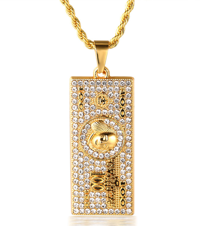 """Halukakah """"DOLLAR"""" Men's 18k Real Gold Plated 100 US Dollar Money Pendant Artificial Diamond Set Necklace with FREE Rope Chain 30"""""""