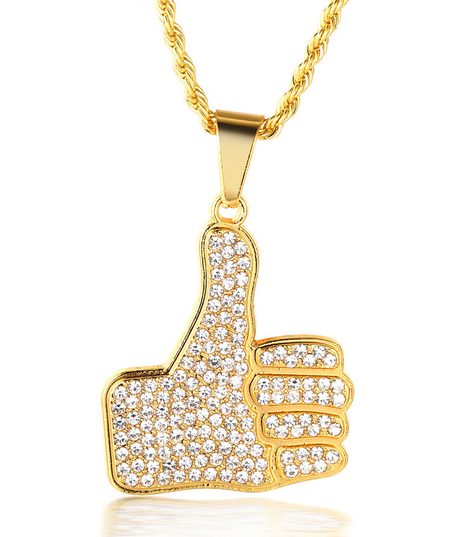 "Halukakah ""AWESOME"" Men's 18k Real Gold Plated Thumb Up Pendant Artificial Diamond Set Necklace with FREE Rope Chain 30"""