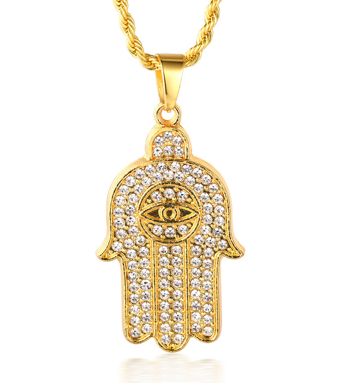 """Halukakah """"PRAYER"""" Men's 18k Real Gold Plated All-seeing Eye Hand Pendant Artificial Diamond Set Necklace with FREE Rope Chain 30"""""""