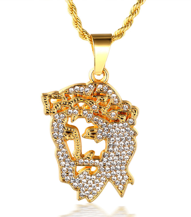 """Halukakah """"JESUS"""" Men's 18k Real Gold Plated Hollow out Jesus Pendant Artificial Diamond Set Necklace with FREE Rope Chain 30"""""""