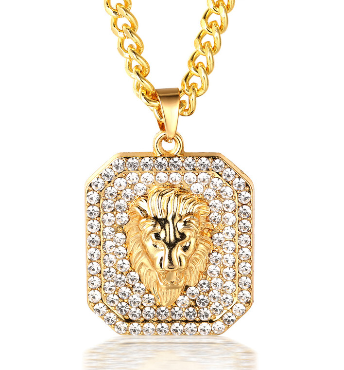 """Halukakah """"KINGS LANDING"""" Men's 18k Real Gold Plated 3d Lion Pendant Artificial Diamond Set Necklace with FREE Cuban Chain 30"""""""