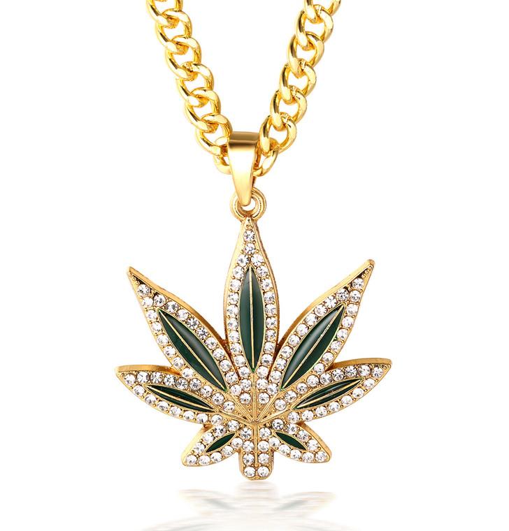 "Halukakah ""MARIJUANA"" Men's 18k Real Gold Plated Marihuana Weed Pendant Artificial Diamond Set Necklace with FREE Cuban Chain 30"""