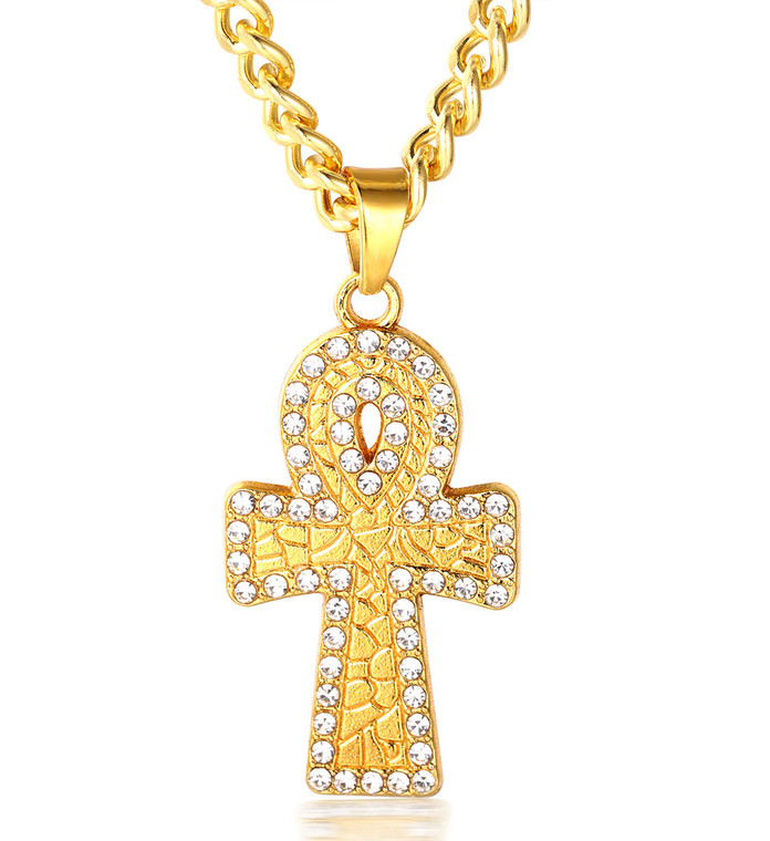 """Halukakah """"PRAYER"""" Men's 18k Real Gold Plated Cross Pendant Artificial Diamond Set Necklace with FREE Cuban Chain 30"""""""