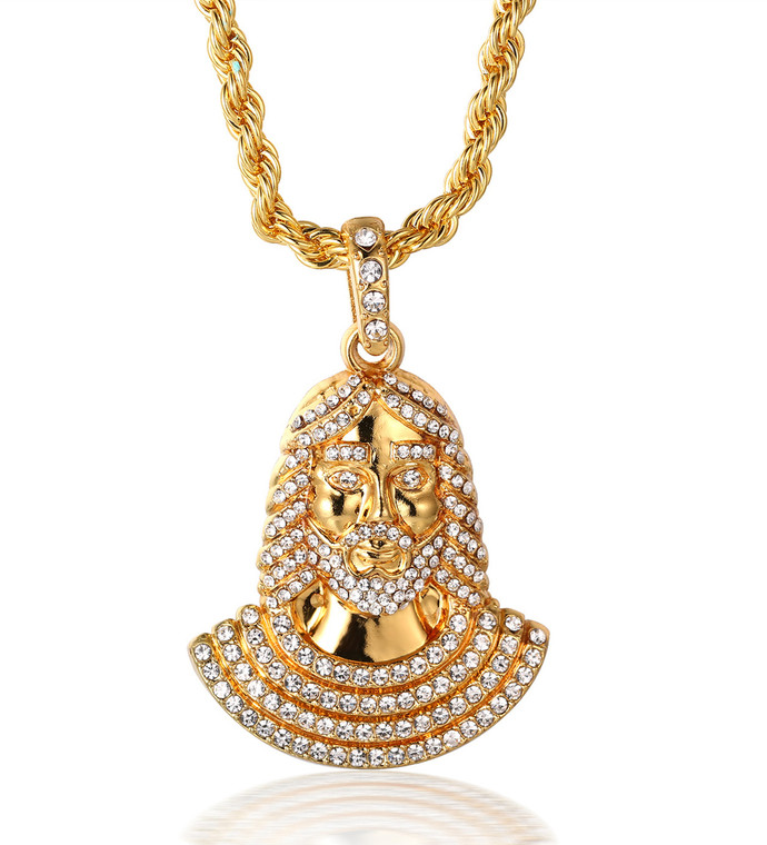 "Halukakah ""PRAYER"" Men's 18k Real Gold Plated Jesus Pendant Artificial Diamond Set Necklace with FREE Rope Chain 30"""