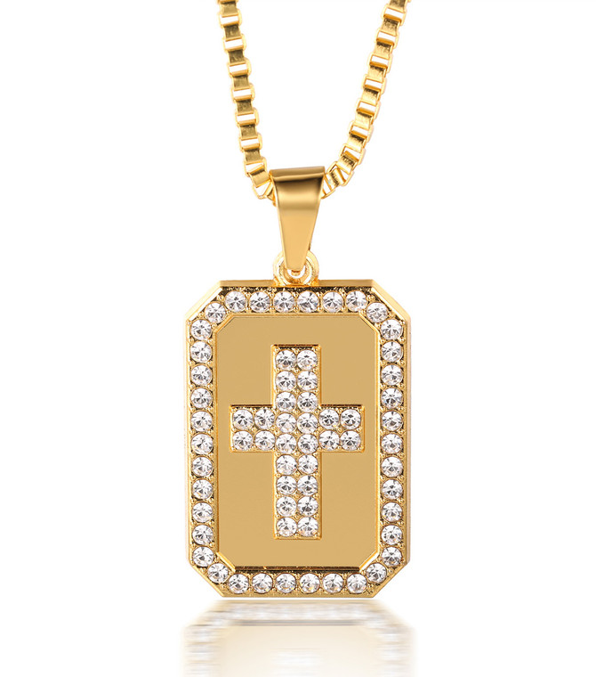 """Halukakah """"PRAYER"""" Men's 18k Real Gold Plated Cross Pendant Artificial Diamond Set Necklace with FREE Box Chain 30"""""""
