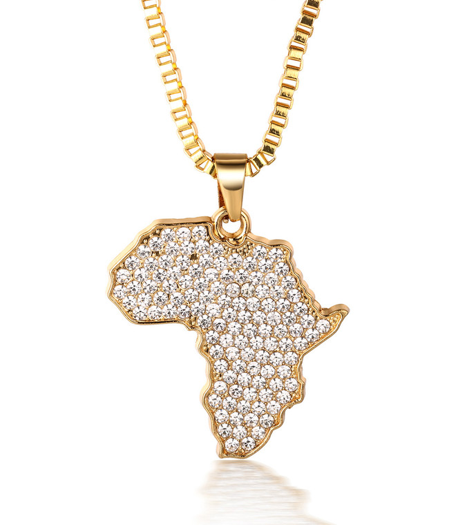 "Halukakah ""AFRICA"" Men's 18k Real Gold Plated Africa Map Pendant Artificial Diamond Set Necklace with FREE Box Chain 30"""
