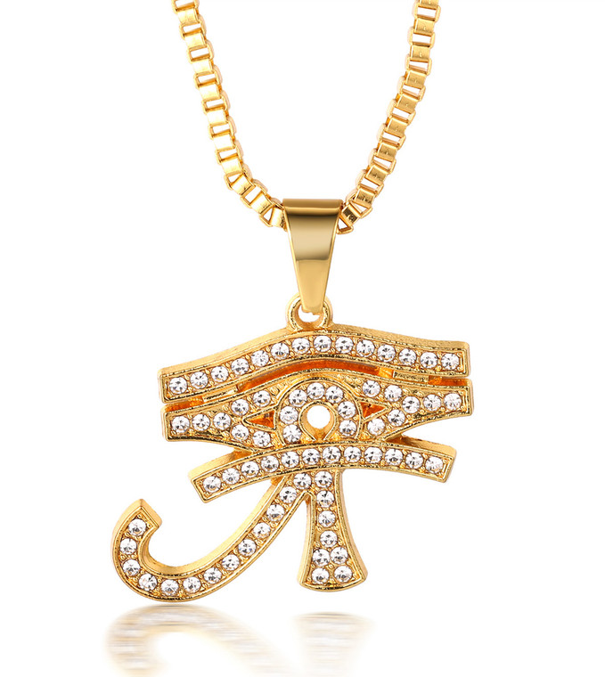 """Halukakah """"PRAYER"""" Men's 18k Real Gold Plated All-seeing Eye Cross Pendant Artificial Diamond Set Necklace with FREE Box Chain 30"""""""