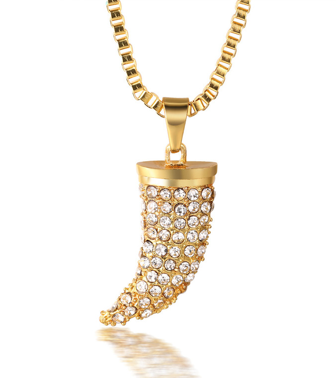 """Halukakah """"KINGS LANDING"""" Men's 18k Real Gold Plated Wolf Fang Tooth Pendant Artificial Diamond Set Necklace with FREE Box Chain 30"""""""