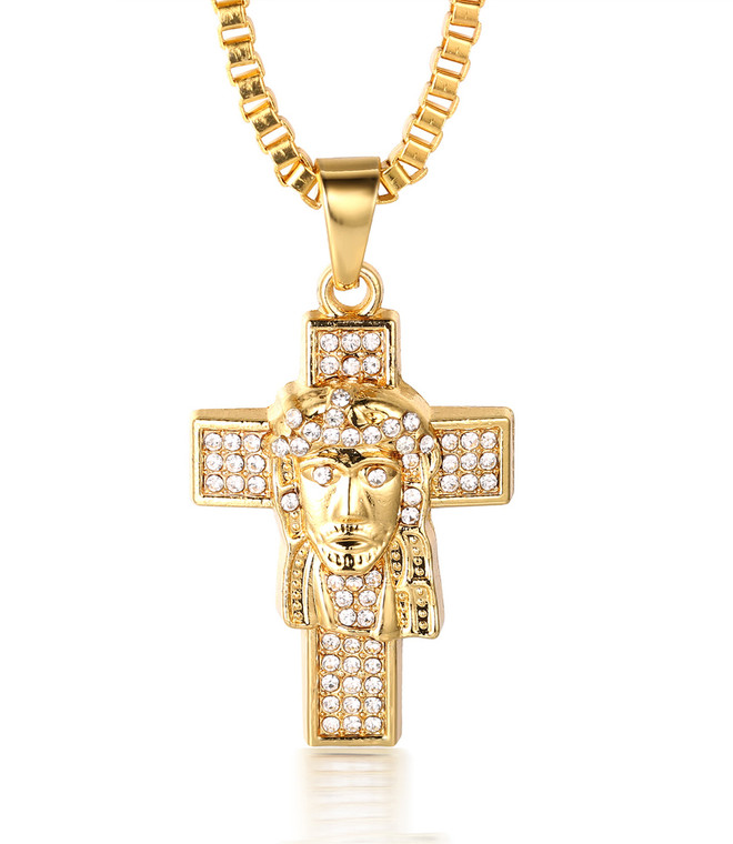 "Halukakah ""PRAYER"" Men's 18k Real Gold Plated Jesus Cross Pendant Artificial Diamond Set Necklace with FREE Box Chain 30"""