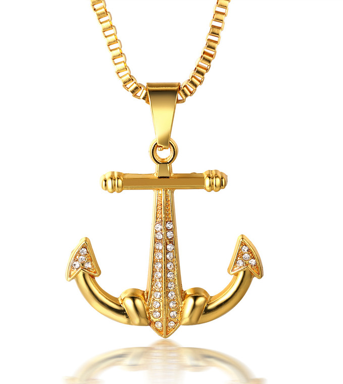 """Halukakah """"SAIL"""" Men's 18k Real Gold Plated Anchor Pendant Artificial Diamond Set Necklace with FREE Rope Chain 30"""""""