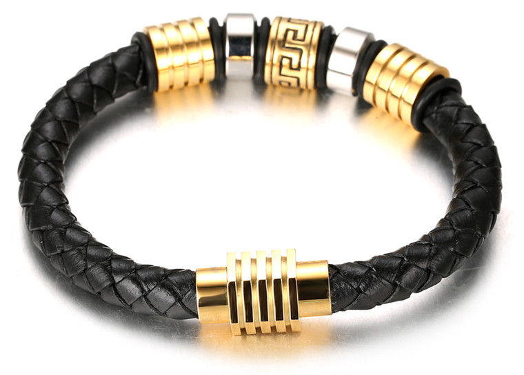 "Halukakah Kids ""Honour Junior"" Boy's Genuine Leather Handmade Bracelet 6-12 Y/O. Braid Brick Pattern Golden Titanium Magnetic Clasp 7""/18cm with Free Giftbox"
