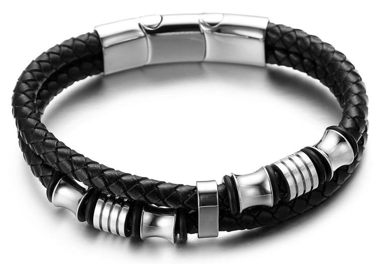 "Halukakah Plus ""Solo"" Men's Genuine Leather Bracelet with Titanium Beads Silver Titanium Magentic Clasp Size Adjustable 8.46""-9""(21.5-23cm) with FREE Giftbox"
