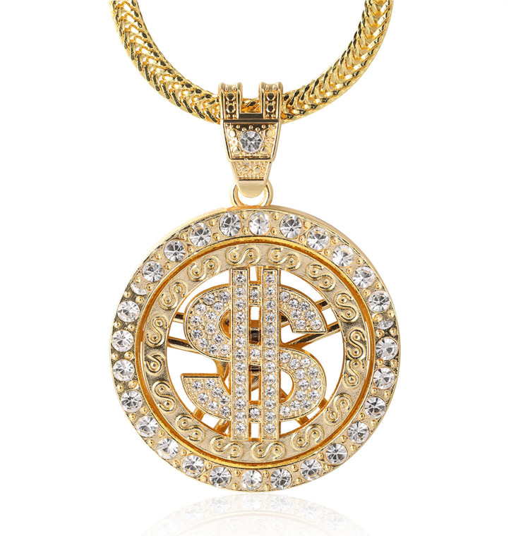 """Halukakah """"Dollar"""" Men's 18k Real Gold Plated Full Cz Diamond 3d Rotatable Us Dollar Pendant Necklace with Free Sharktail Chain 30"""""""