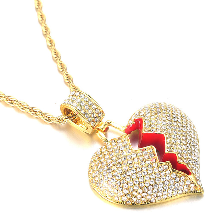 """Halukakah """"My Gold Heart is Broken"""" Men's 18k Real Gold Plated Full Cz Diamond 3d Broken Heart Pendant Necklace with Free Rope Chain 24"""""""