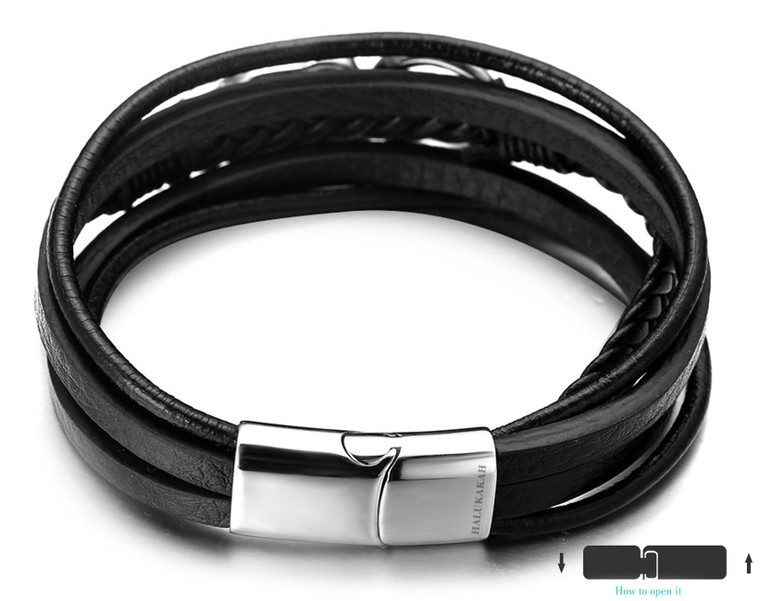 "Halukakah ""Tokyo"" Men's Genuine Leather Black Bracelet Silver Skull Handmade Titanium Magnetic Clasp 8.5""(21.5cm) with Free Giftbox"
