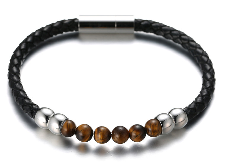 "Halukakah ""SALUTE THE LAND"" Men's Genuine Leather Bracelet with Natural Tiger Eye Stone Beads Magentic Clasp 8.46""(21.5cm) with FREE Giftbox"