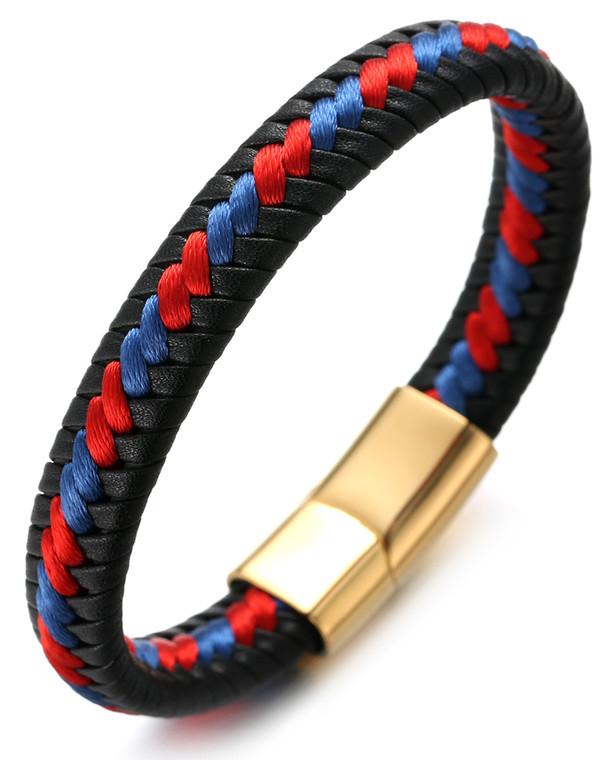 "Halukakah ""ROMA"" Men's Genuine Leather Handmade Bracelet Braid Blue & Red Cotton Thread Golden Titanium Magnetic Clasp 8.5""(21.5cm) with Free Giftbox"