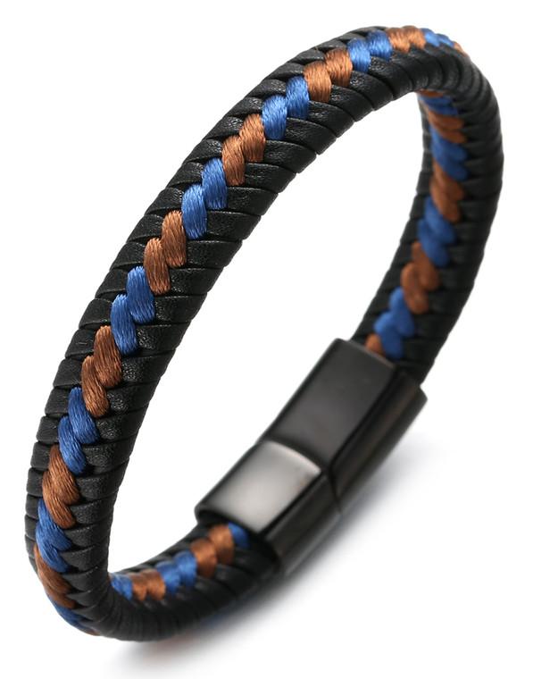 "Halukakah ""ROMA"" Men's Genuine Leather Handmade Bracelet Braid Blue & Brown Cotton Thread Gun Black Titanium Magnetic Clasp 8.5""(21.5cm) with Free Giftbox"
