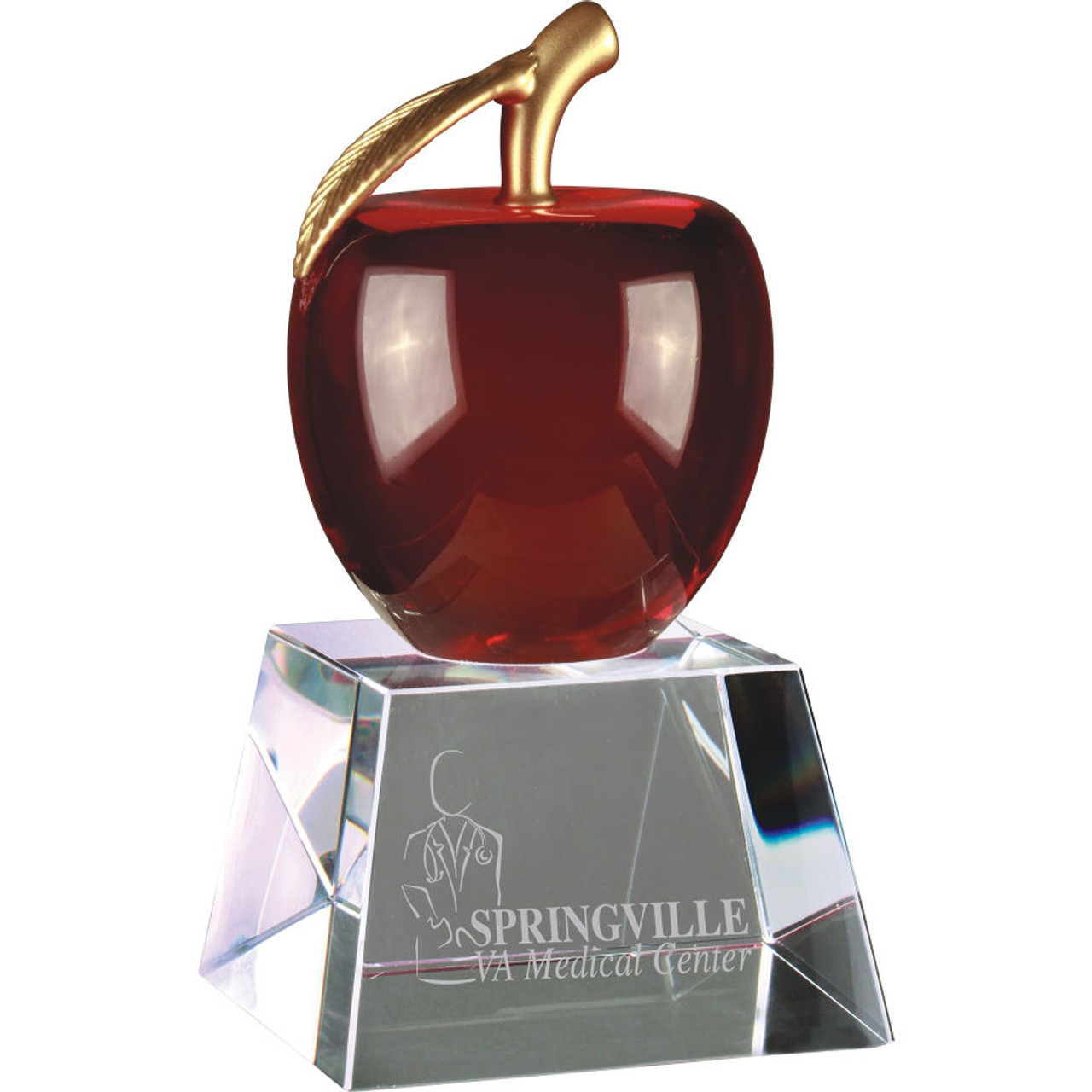 Red Crystal Apple on Clear Base