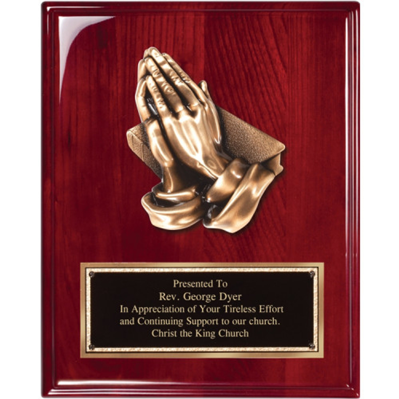 Rosewood-piano- finish-praying-hands-plaque