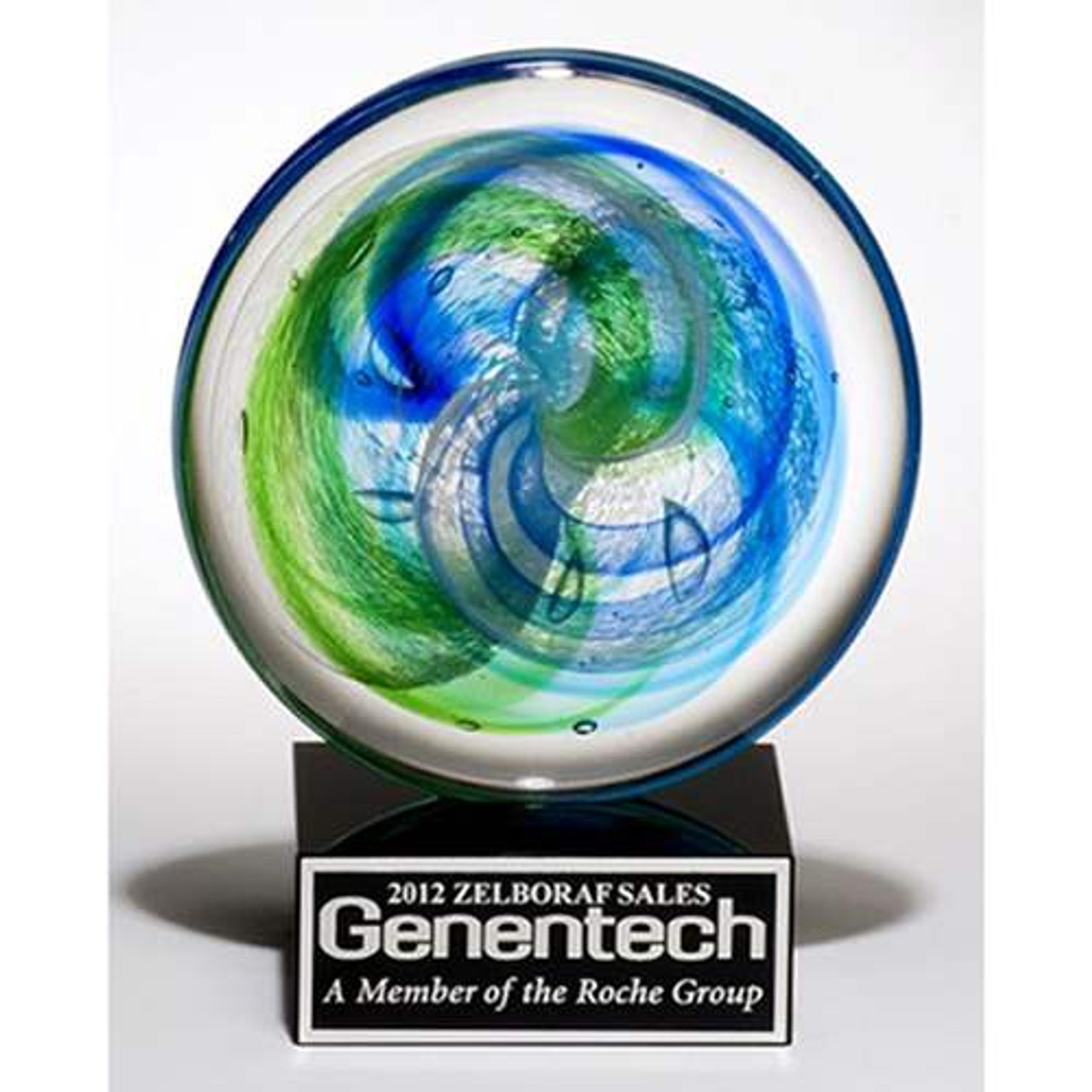 Art glass disk w/blue -green accents