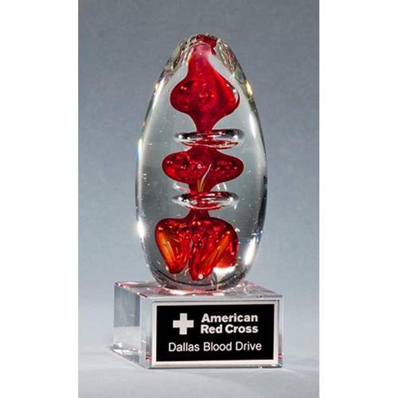 Egg-Shaped Red Art Glass