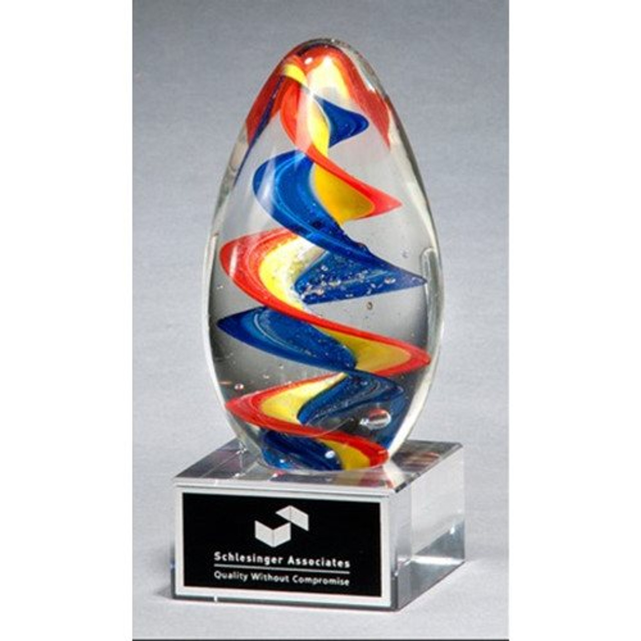 Egg-shaped Multi-Colored Art Glass