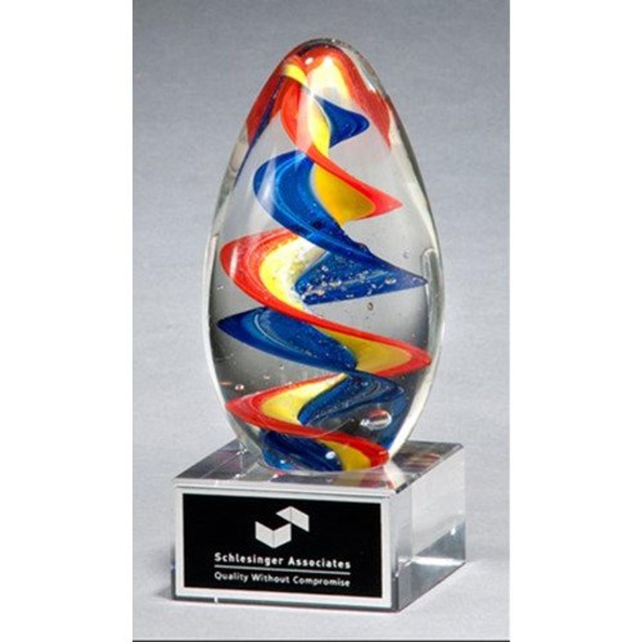 Egg-shaped Multi-Colored Art Glass