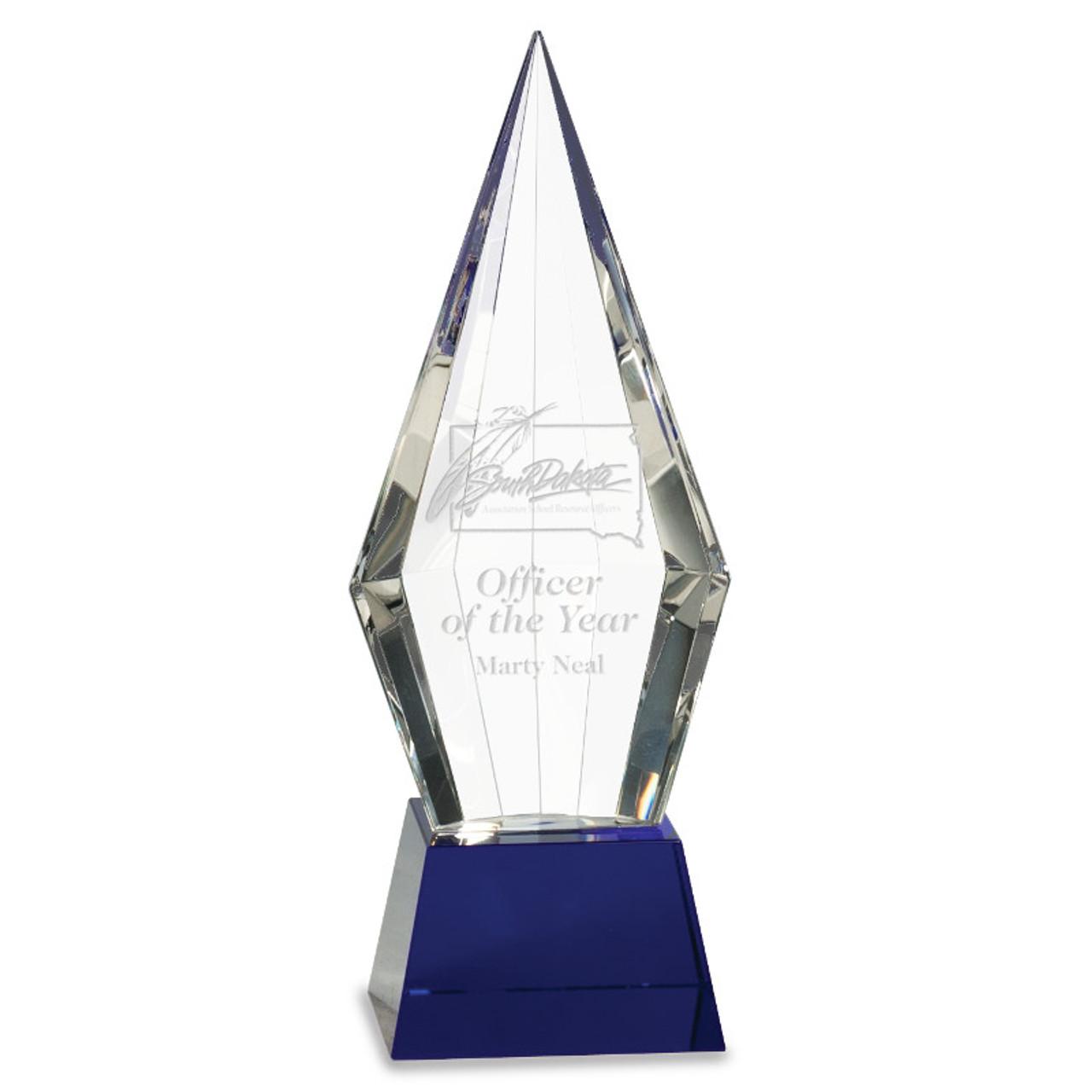 Blue Arrow Point Crystal Award