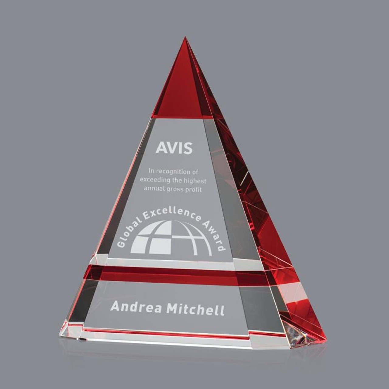 Red Accented Crystal Triangle Pyramid Award