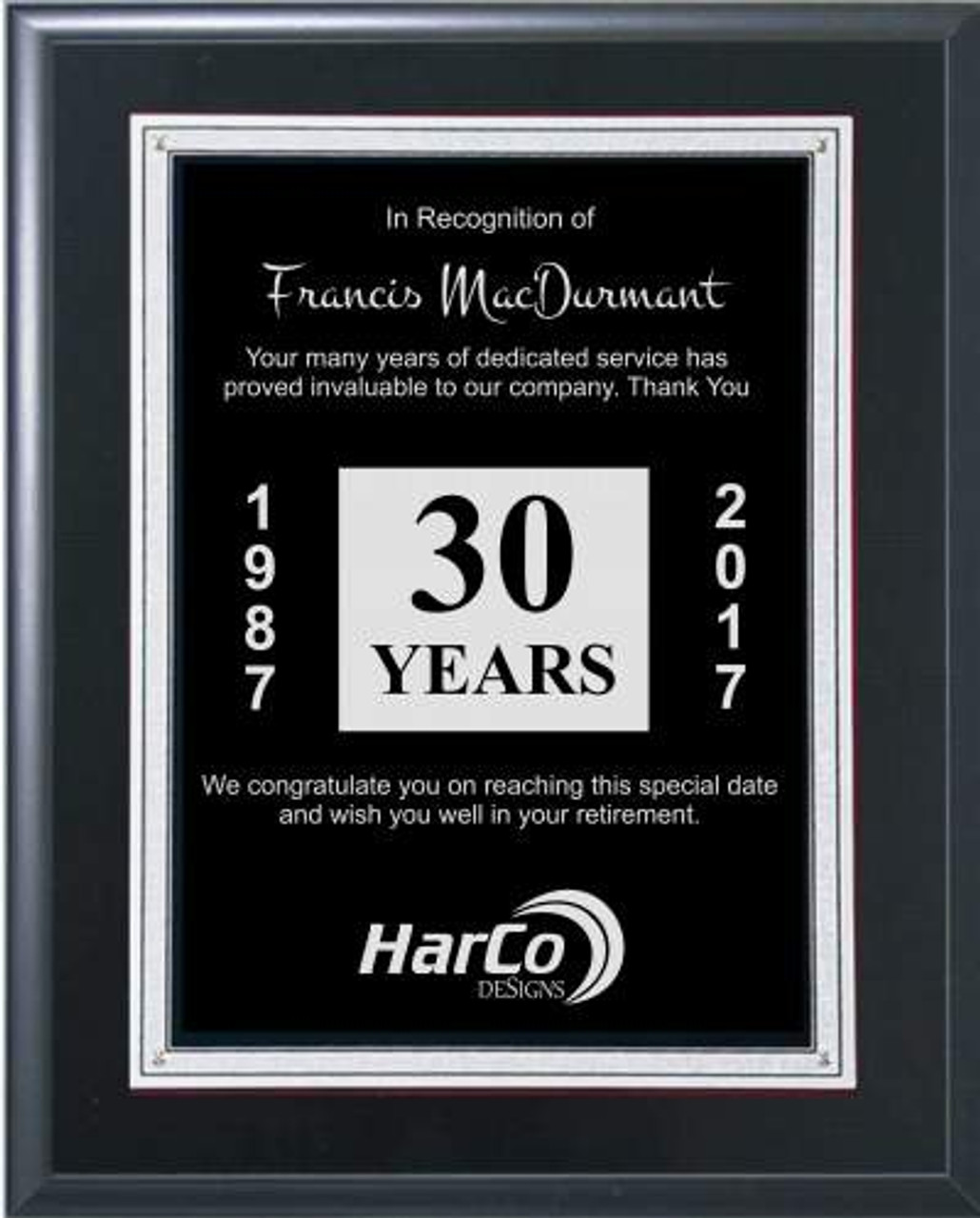 Black and Silver Retirement Plaque