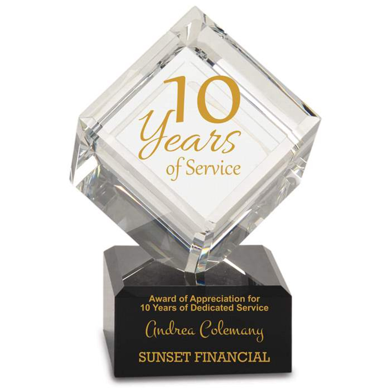 Years of Service Crystal Cube