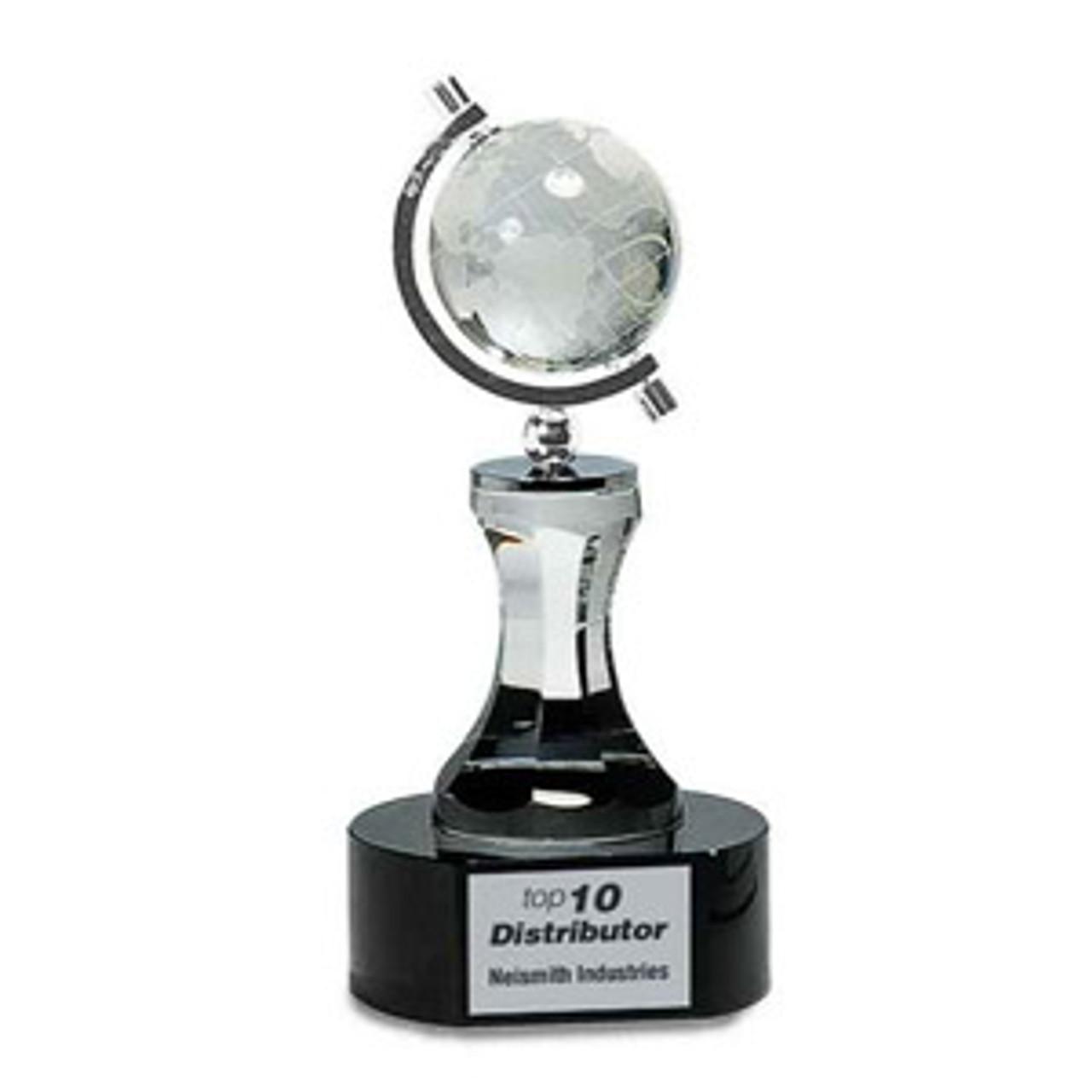 Crystal Spinning Globe on Pedestal and Black Base