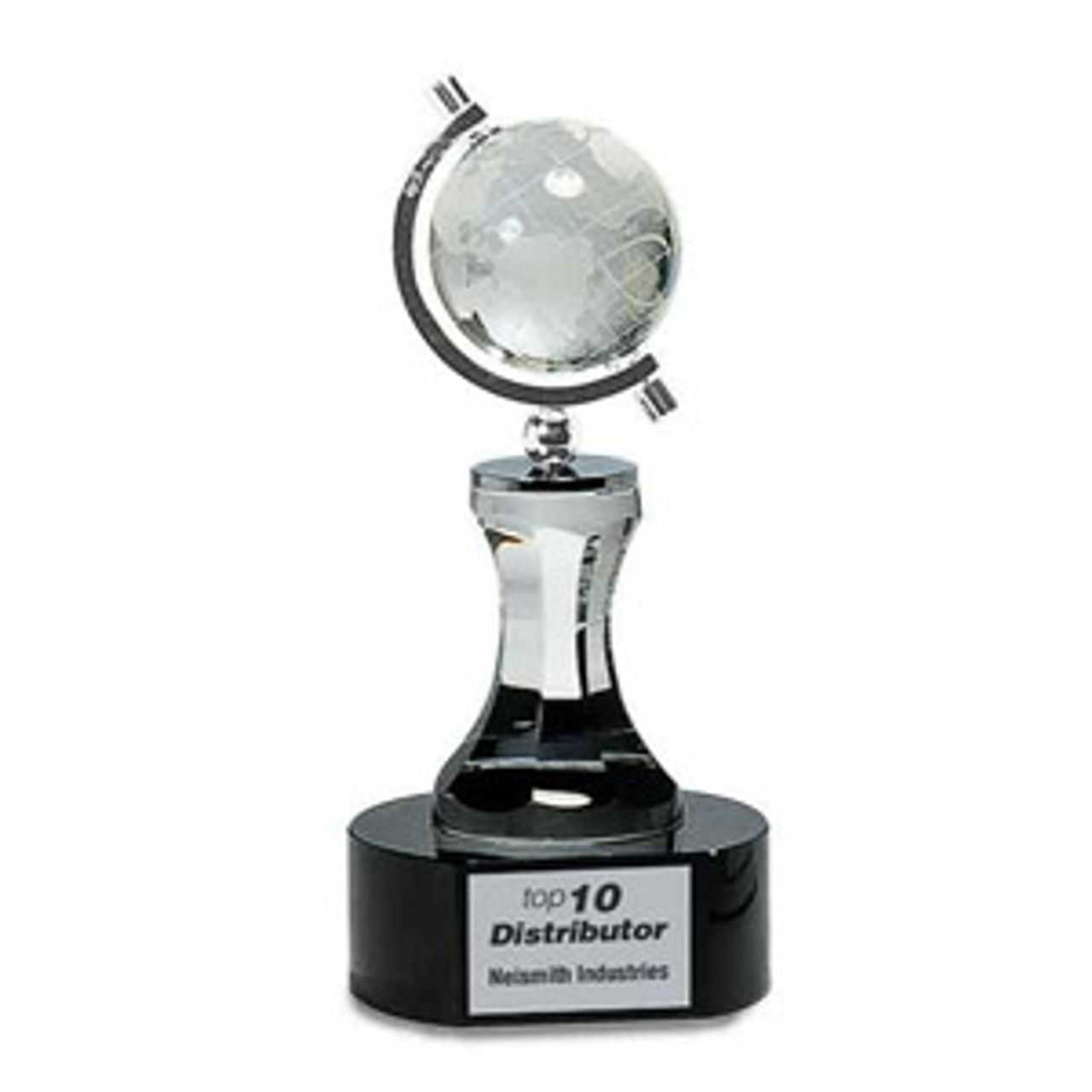 Crystal Spinning Globe on Pedestal and Black Base