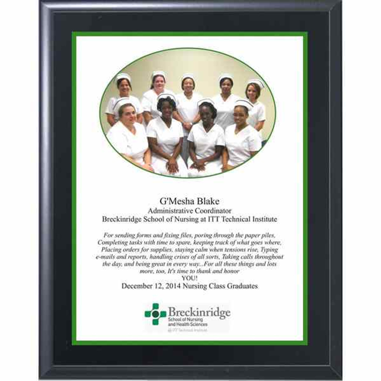 Full Color Plaque- Black Matte-White Plate