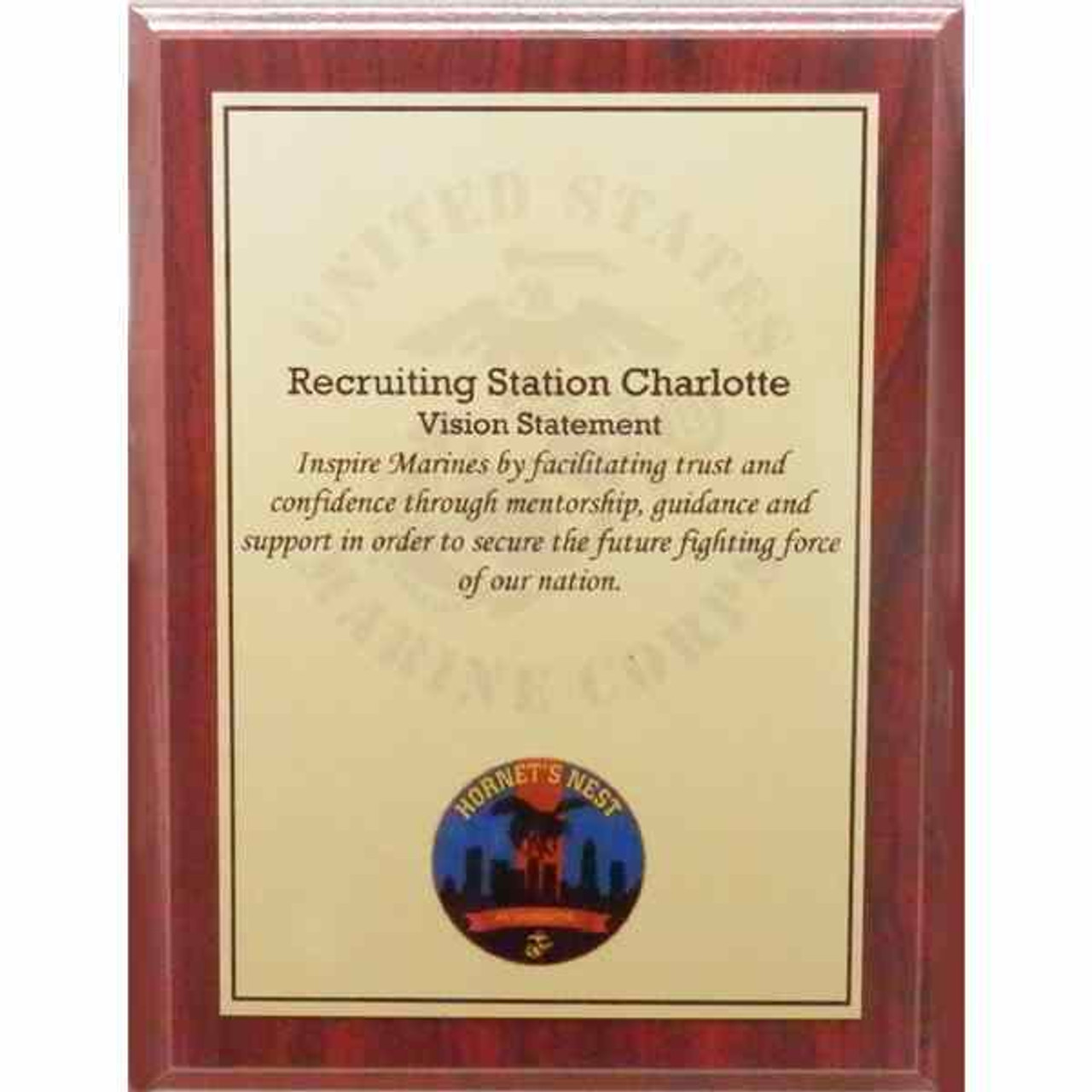 Full Color Plaque-Red Woodgrain/Gold Plate