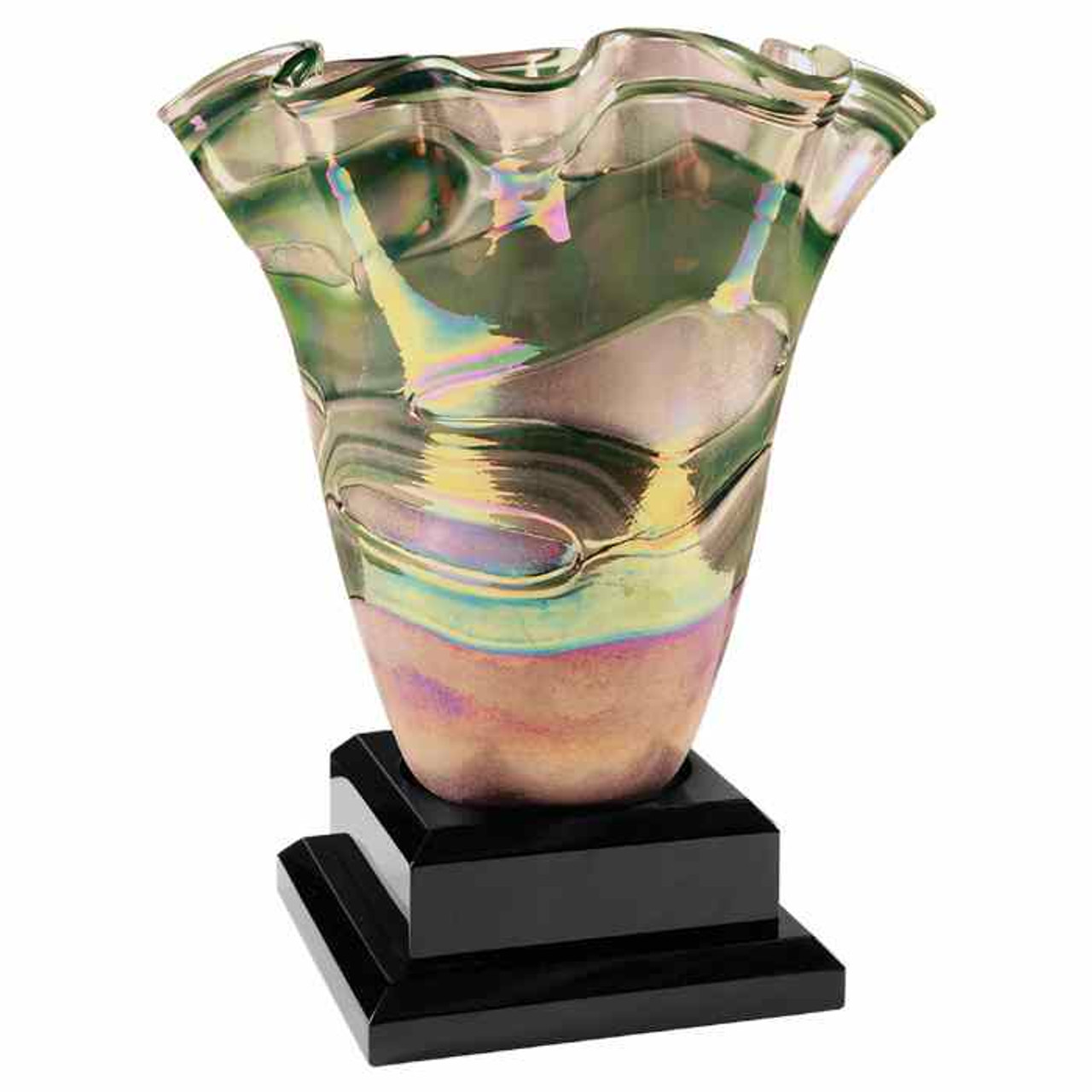 Pink/Green Art Glass Vase