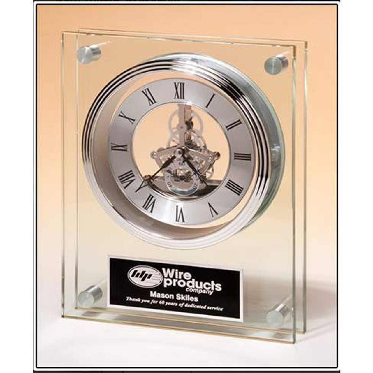 Large Glass Clock with Skeleton Movement