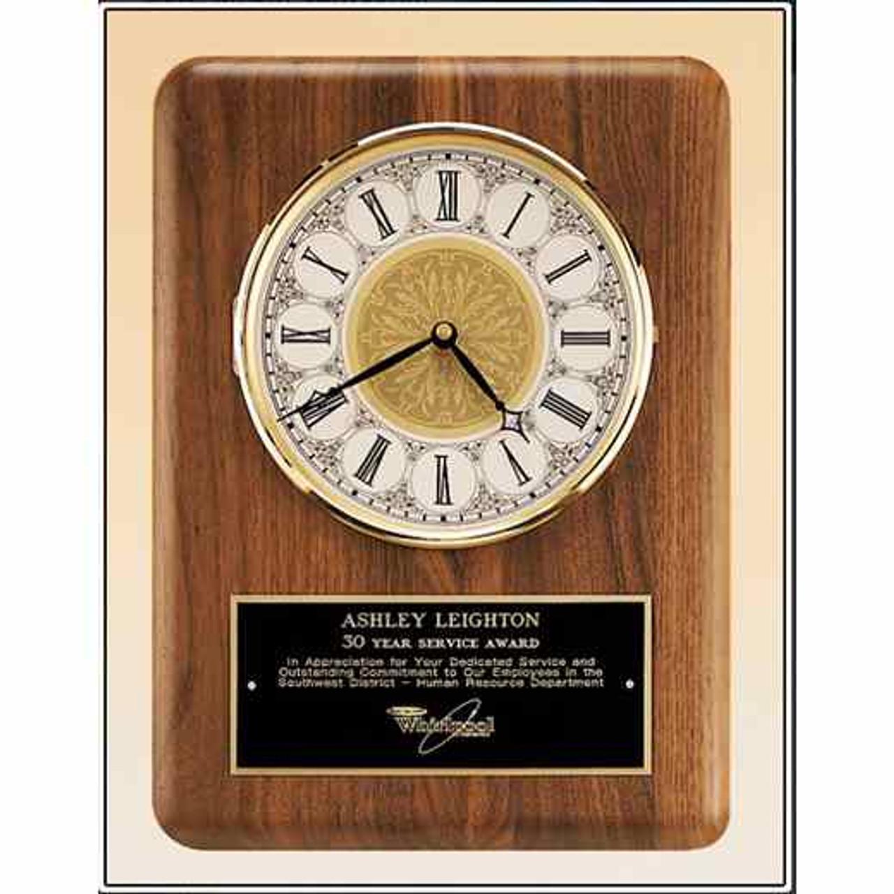 Genuine Walnut Clock with Brass Bezel