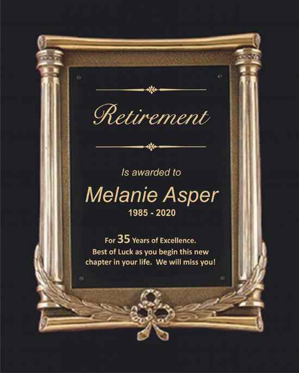 Antique Bronze Retirement Plaque