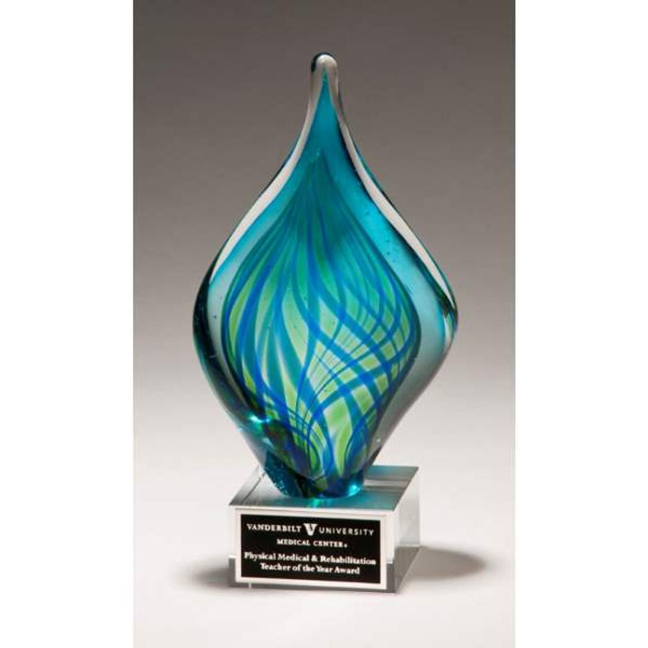 Blue and Green Art Glass Twist