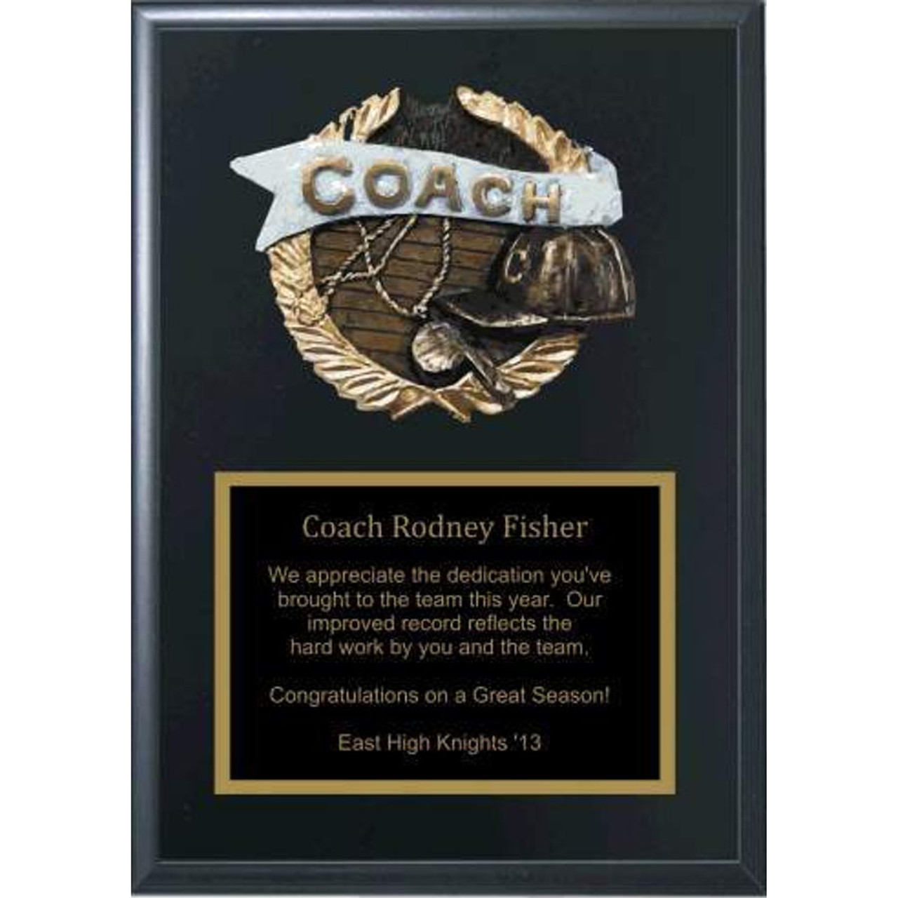 "5"" x 7"" Coaches Plaque with Relief"