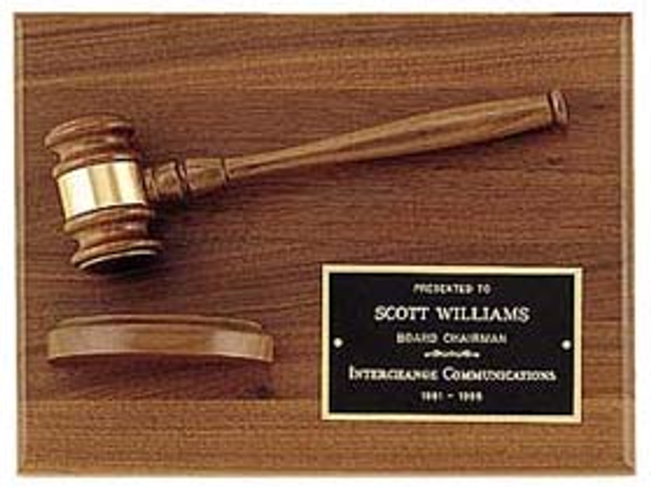 Walnut Plaque w/ Gavel and Block
