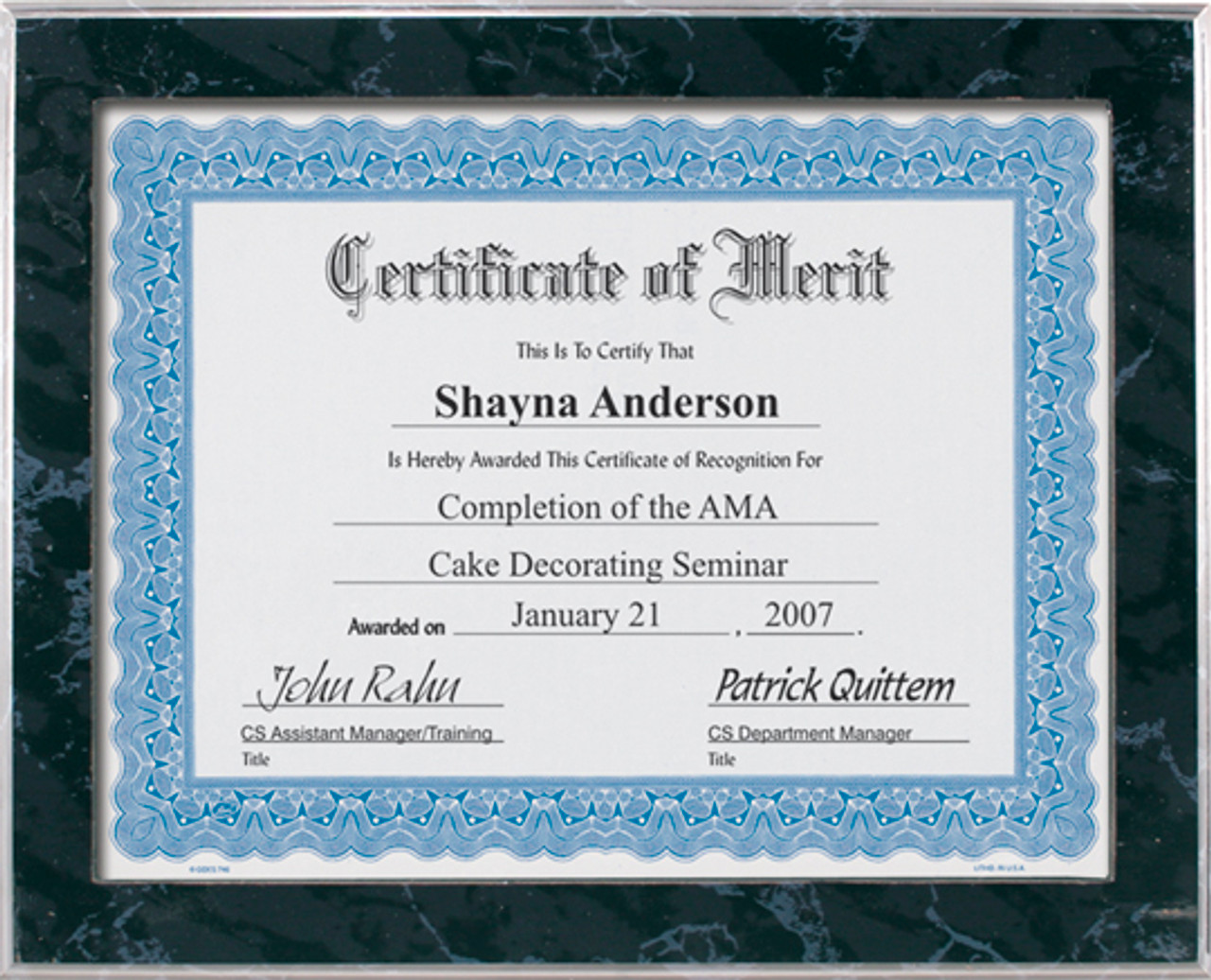Black Marble Slide-In Certificate Plaque