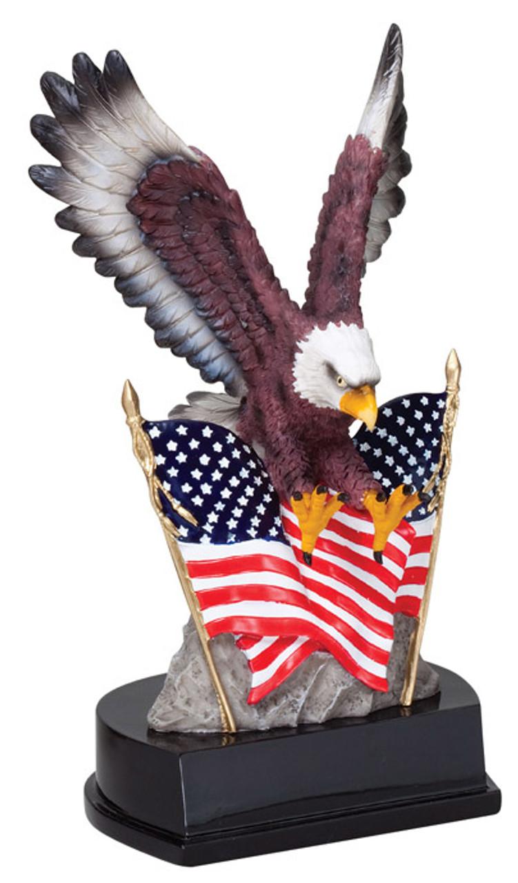 Eagle in Flight w/Flags