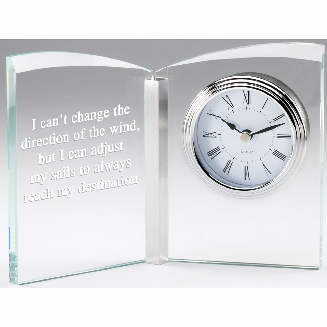 Clear glass book award with clock