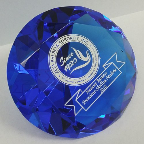 Blue Crystal Paperweight