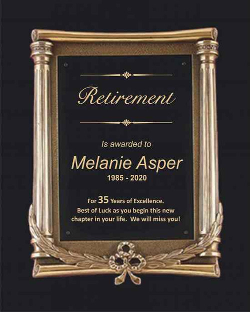 Antique Bronze Retirement Plaque