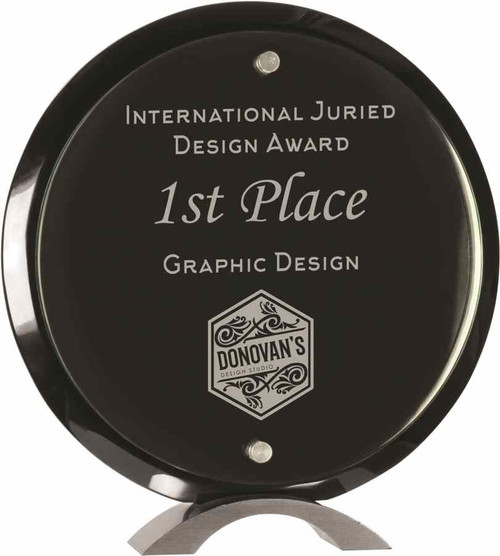 Round Ebony Floating Glass Plaque