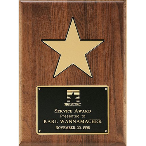 Walnut Plaque w/Gold Aluminum Star
